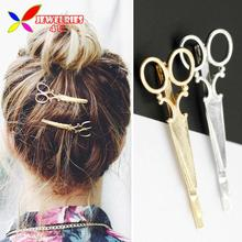 2016 Hot Hairpins Fashion Trendy Lovely golden Silver Metal Scissors Hair Clips for Women Jewelry Accessories pinzas de pelo