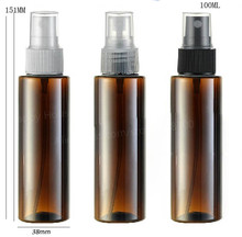 24 x 100ml Cylinder Amber Brown DIY Flat Shoulder Plastic Perfume Bottle 100cc PET Fragrance Mist Sprayer Container Wholesale