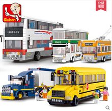 Sluban School Bus van Building Blocks City Series Double-decker bus Container truck kids toy 0318 compatiable with lego kid gift