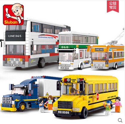 Sluban School Bus van Building Blocks City Series Double-decker bus Container truck kids toy M38-B0333 compatiable with kid gift<br><br>Aliexpress