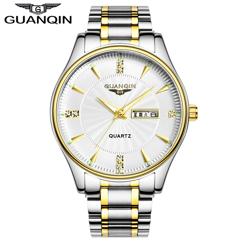 2017 New Luxury Watch Tops Brand GUANQIN Quartz Watch Men Steel Fashion Clock Male sports Waterproof Watches Complete Calendar<br>