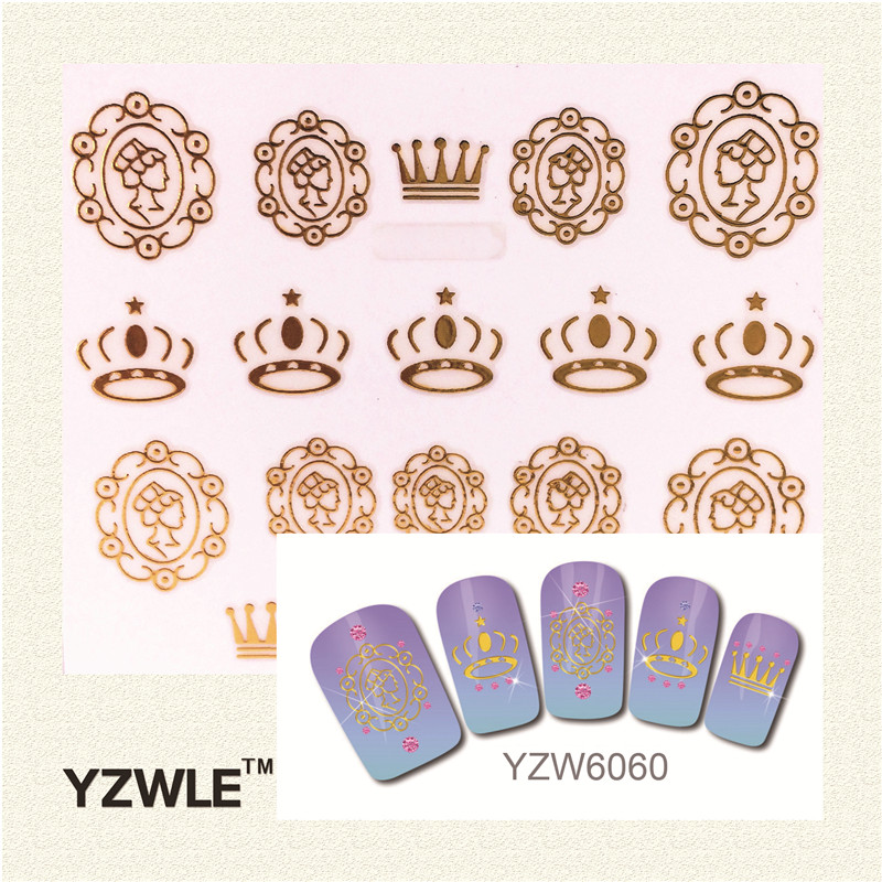 YZWLE 1 Pc Fashion 3D Golden Crown Pattern Nail Sticker Nail Gold Sticker<br><br>Aliexpress