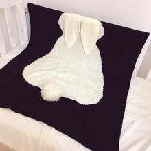black Baby Blankets Rabbit Crochet Newborn knitting Blanket Kids Acrylic Bedding Cover air conditioning wool blanket drop ship(China)