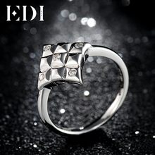 EDI Unique 100% 925 Sterling Silver D-F Color Moissanites Diamond Engagement Rings For Women Jewelry(China)