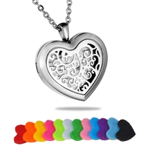 Hollow Tree Life Stainless Steel Heart Essential Oil Chain Necklace Perfume Aromatherapy Pendant Necklace With 12 Pads(China)