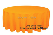 "5pcs #35 Orange Extra Thicker 132"" Round Polyester Plain Table Cloth,Round Cloth For Wedding Event&Party&Hotel Decoration(China)"
