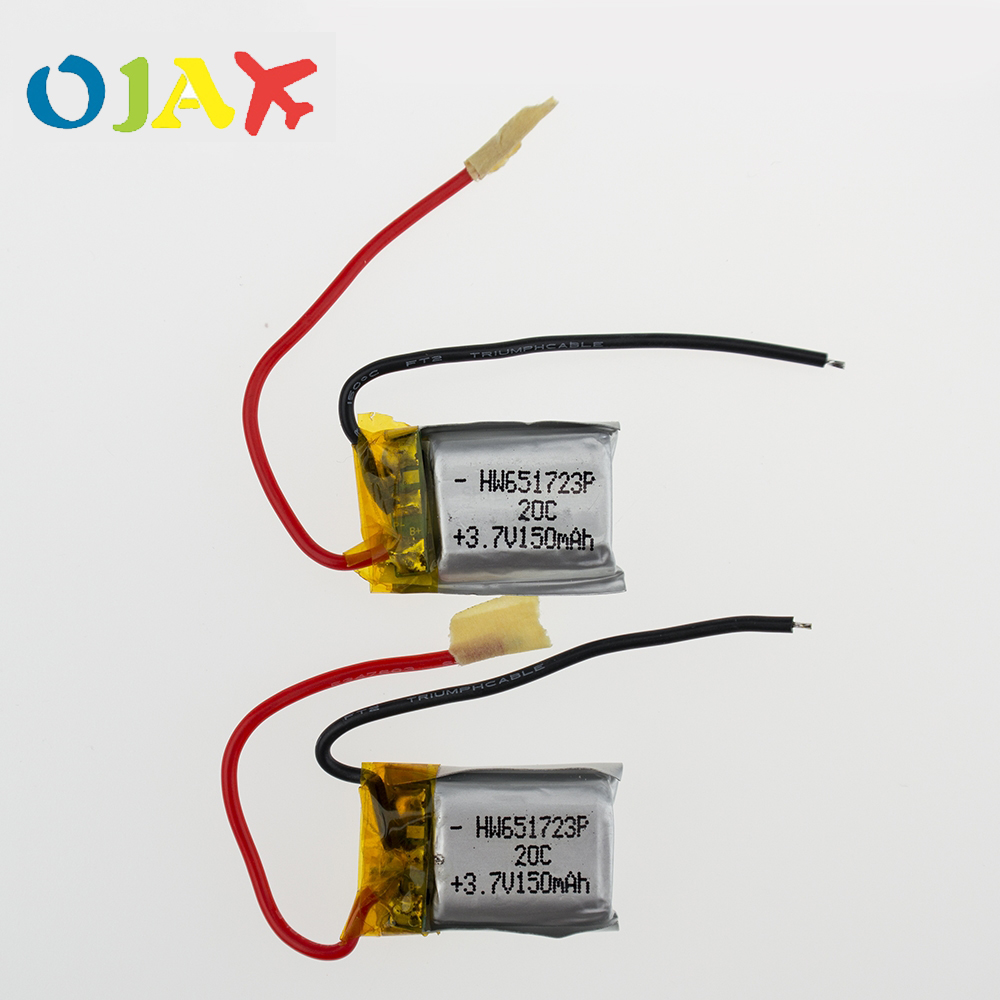 2pcs 3.7V 150mah 20C Lipo Battery For RC Syma S107 S107G S107-19 Skytech M3 Airplane Helicopter Drone battery(China)