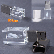 Custom 3D Logo stamp Transparent Crystal USB Flash Drive 2.0 4gb 8gb 16gb 32gb Memory Led Light (30pcs free logo)