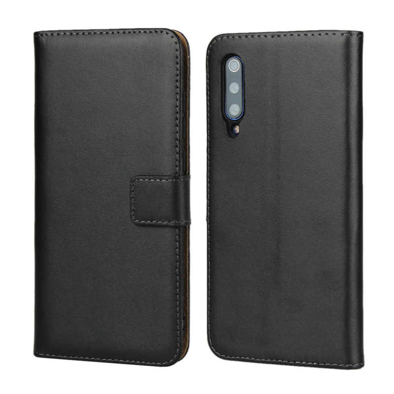 100pcs/lot For Xiaomi Redmi 7 Real Leather Case Stand Card Slots Wallet Genuine Leather Case For Xiaomi Mi 9 Mi9 SE