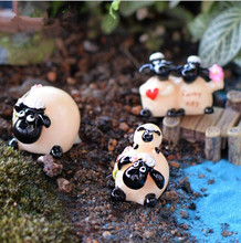 Free shipping wholesale lovely resin sheep fairy garden/moss terrarium Micro landscape decoration/crafts/bonsai/6pcs(China)