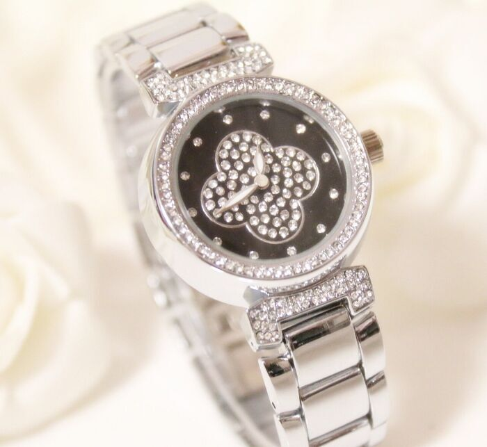 Free Shipping Famous brand Luxury Women Watch Lady Lucky Clover Dress Watch Rhinestone Full Crystal Bangle Bracelet bead charm<br><br>Aliexpress