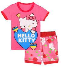 Hello Kitty Cartoon Baby Girls Clothing Set 2015 Kids Toddler T-shirt Tank Tops +Print pants 2PCS Set Outfits Clothes suits