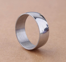 High Quality 8MM Sliver Bevel Smooth bright surface narrow and thin 316L Stainless Steel Ring Band Wholesale Low Price