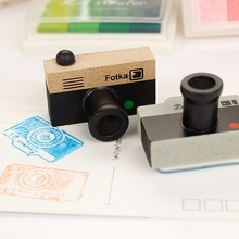 1Pcs Cute Lovely Korea DIY Wooden Retro Camera Rubber Stamps Seal For Kids Funny Toys 2 Models 2 Colors Decoration Signet(China)