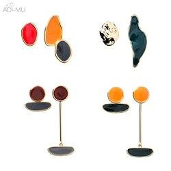 Женские сережки с эмалью AOMU, нестандартной геометрической формы, овальные серьги-подвески ярких цветов, 2019