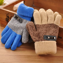 Hot Sale Brand New Boys Kids Warm Knitted Gloves Children Winter Thick Full Mitten Finger Protector Popular Gloves High Quality(China)
