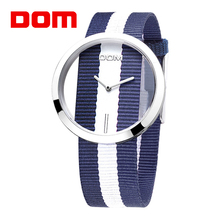 DOM Unique Luxury Women Wrist Watch Casual European American Hollow Out Weaving Cloth Quartz Wrist Watch For Lady(China)