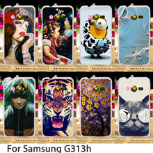 Soft Phone Cases For Samsung Galaxy ACE 4 NXT G313 G318H G313H Ace 4 Lite Case Flowers Hard Back Cover Skin Housing Sheath Bag