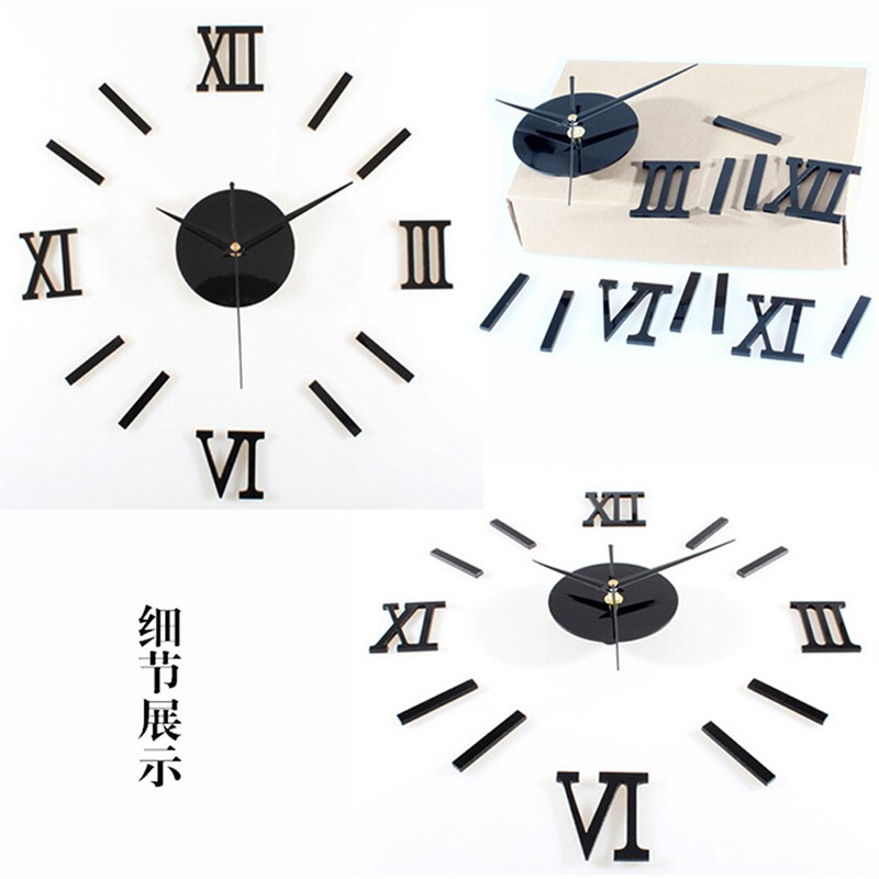 HTB1vooqSXXXXXbqapXXq6xXFXXX3 - Home Decor Luxury Large Wall Clock Mirror Art Design Wall Sticker-Free Shipping