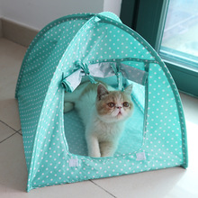 Cute Dots Pet Tent Playpen Outdoor Indoor Tent For Kitten Portable Foldabl Cat Small Dog Puppy Kennel Tents Cats Nest Toy House(China)