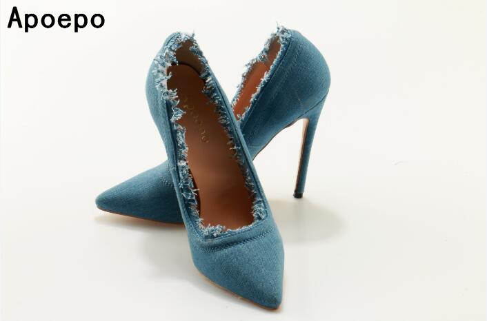 Newest denim high heel shoes 10 cm thin heels woman pumps 2017 sexy pointed toe stiletto heels office lady high heels