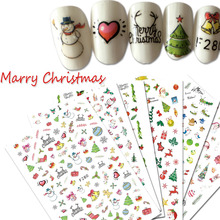 1Sheet Snow Flower Merry Christmas Decoration 3D Nail Art Stickers Adhesive Nail Tips Decals Designs Decor Manicure TRF271-280