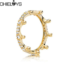 CHIELOYS Original Silver Plated Queen Crown Pandora Ring White Zircon For Women Luxury Fashion Jewelry Pandora Gift R060(China)