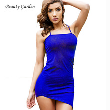 Beauty Garden Women Dress Tight Sexy Club Wear Solid Irregular Casual Halter Mini Dress Strap summer Dress 2017 new(China)