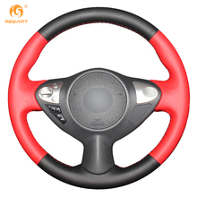 Mewant Black Red Genuine Leather Car Steering Wheel Cover for Infiniti FX FX35 FX37 FX50 Nissan Juke Maxima 2009-2014 Sentra
