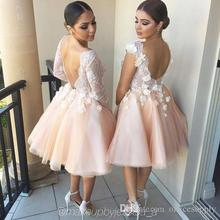 Cheap 2017 Short Bridesmaid Dresses Organza With Flowers Appliques Maid of Honor Dress Plus Size Wedding Party BGowns