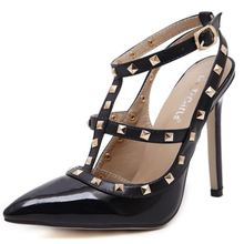 New 2107 Hot Women Pumps Ladies Sexy Pointed Toe High Heels Fashion Buckle Studded Stiletto High Heel Sandals Shoes Large Size(China)