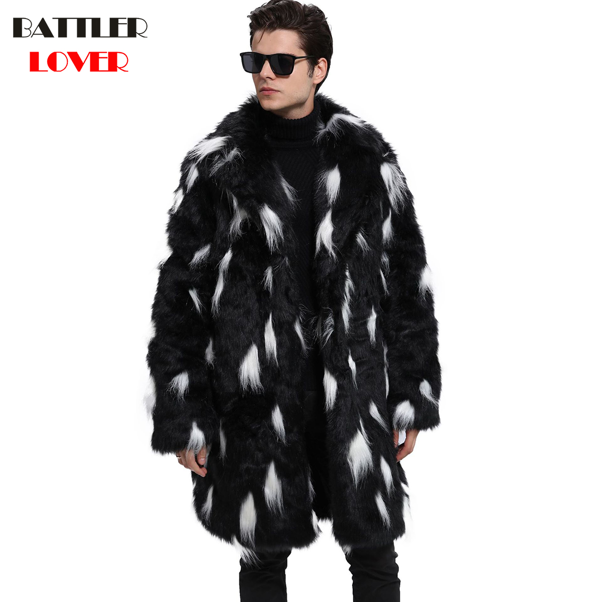 Mens Fur Coat Winter Faux Fur Thick Outwear Coats Men Punk Parka Jackets Hombre Warm Leather Overcoat Genuine Fur Brand Clothing