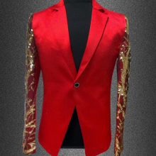 2015 new fashion male suits blazer red gold sequins slim men performance costume stage wear star concert jacket coat  outerwear