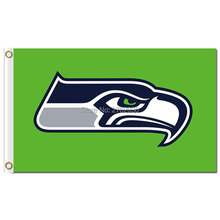Green Seattle Sports Team Man Cave Seattle Flag With White Sleeve Grommets World Series Football Team Banner Helmet(China)