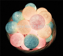 20 Balls/pcs sweet Pastel Cotton Ball String Fairy lights Party home Patio wedding Romantic decor(China)