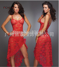 Fcare Summer Hot big size S-6XL dress+g string sexy lingerie long lace nightgown home suspenders long(China)
