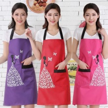 2017 New Solid color butterfly pattern bib aprons kitchenapron funny patterns Cooking apron for woman man tablier cuisine(China)