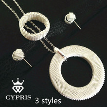 2018 Deal Mesh Net jewellery silver set Necklace earrings ring fashion jewelry 18inch chic huge circle loop big wholesale(China)