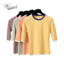 Autumn T-shirt Knitted Slim Striped Tee shirt femme Harajuku Womens Clothing Sweet Ladies Candy Color Knitted Tops WS-234(China)