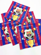 Soccer Football Champions League Club Barcelona Tissues/Towels KIds/Adult Happy Birthday Party Paper Napkins 20PCS/Lot(China)