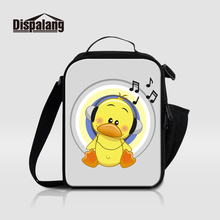 Dispalang New Fashion Portable Lunch Bags For Kids Thermal Insulated Cooler Bag For Students Cartoon Musical Note Print Lunchbox