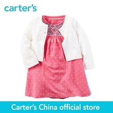 Carter's 2pcs baby children kids clothing girl spring&summer 1-Piece Bodysuit Dress & Cardigan Set cute for any occasion 121H131(China)