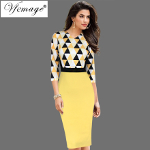 Vfemage Womens Autumn Elegant 3/4 Sleeves Geometric Print Patchwork Contrast Slim Work Business Party Bodycon Pencil Dress 4525(China)