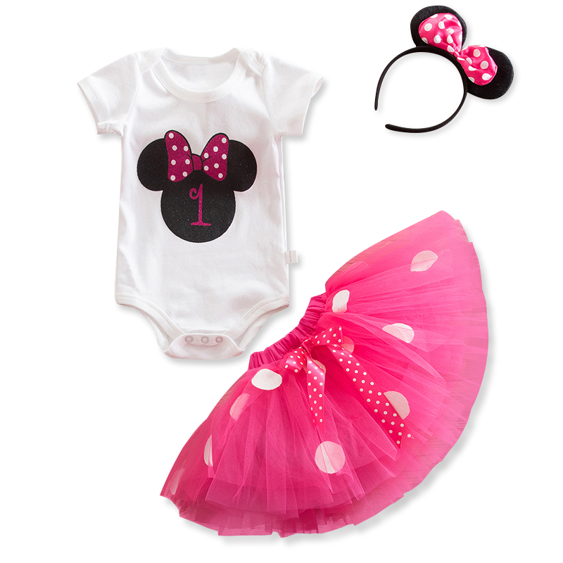 Girl/'s 1st Birthday Minnie Mouse Bow Dots Outfit Party Dress Tutu Skirt Headband