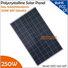 1640x990x40mm High Quality 250W 30V (60cells) Polycrystalline Solar Panel for Grid Tie or Off Grid Solar Power System(China)