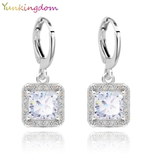 Yunkingdom 5 Colors New Hot Sale Gold Color Zircon Gem Big Brand earrings Small Dangler for Women Fashion Jewelry(China)