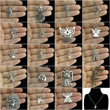 GLOWCAT Q2A51 Alloy Bronze Silver Fairy Cupid's Arrow Angel Wings Fairy Pendant Chunky Collar Necklace