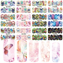 12 Sheets Full Wrap Colorful Beauty Dream Butterfly Nails Sticker Water Transfer Nail Art Stickers Nails Decals JIA1297-1308