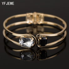 YFJEWE Fashion Women Bracelet gold color Elegant Jewelry Fashion Bud Crystal Bracelets Bangles Christmas Gifts For Women B004(China)