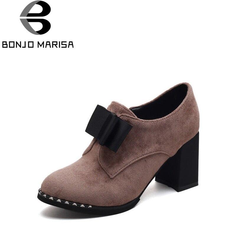 BONJOMARISA Womens Cute Bowtie Office Shoes Woman Square High Heels Round Toe Platform Suede Pumps Big Size 32-43<br>